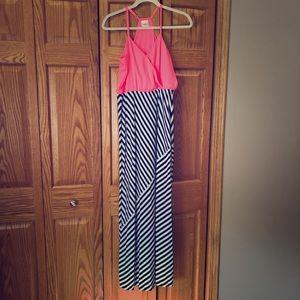 Hot pink and navy maxi dress